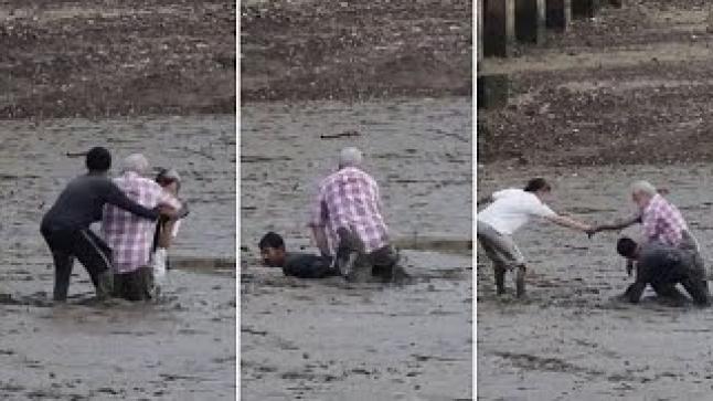 فيديو | شاب تايلندي يحول جسده إلى جسر حتى ينقذ زوجين مسنين من الوحل