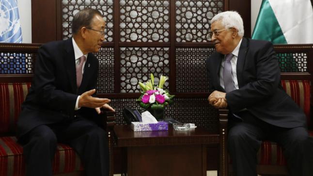 بان كي مون يلتقي بالرئيس الفلسطيني ويحذر من استمرار موجة التصعيد