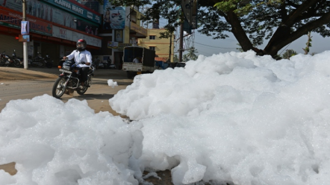 فيديو | رغوة بيضاء سامة تشبه الثلج تجتاح مدينة بنجالور الهندية