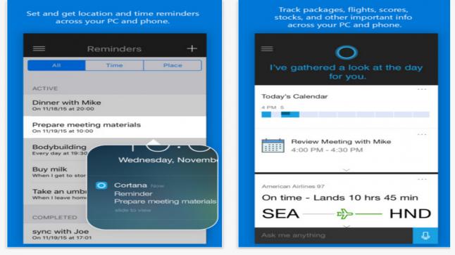 Cortana تطبيق من مايكروسوفت متاح الآن على متجر التطبيقات